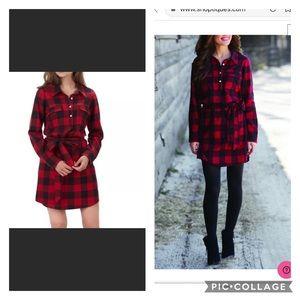 Mudpie red plaid flannel shirt dress NWT